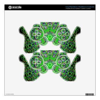 Green Black Kaleidoscope Mandala Art PS3 Controller Skin