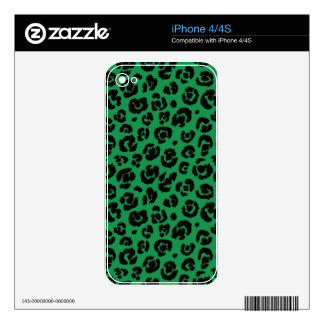 Green Black Leopard Print Skin For The iPhone 4