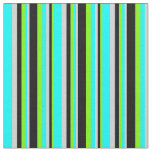 [ Thumbnail: Green, Black, Light Gray, and Cyan Colored Lines Fabric ]
