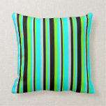 [ Thumbnail: Green, Black, Light Gray, and Cyan Colored Lines Throw Pillow ]