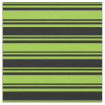 [ Thumbnail: Green & Black Lines Pattern Fabric ]