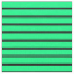 [ Thumbnail: Green & Black Lines Pattern Fabric ]