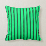 [ Thumbnail: Green & Black Lines Pattern Throw Pillow ]