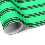 [ Thumbnail: Green & Black Lines Pattern Wrapping Paper ]