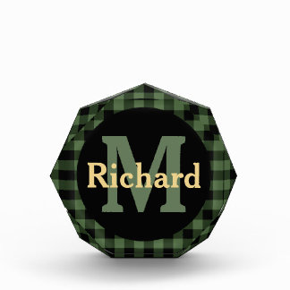Green Black Lumberjack Plaid Monogram and Name Acrylic Award