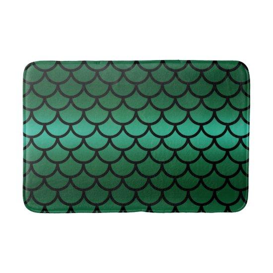 Green & Black Mermaid Scales Fantasy Fish Bath Mat