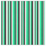 [ Thumbnail: Green, Black & Mint Cream Lined/Striped Pattern Fabric ]