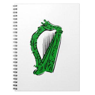 green black ornate harp music design.png notebook
