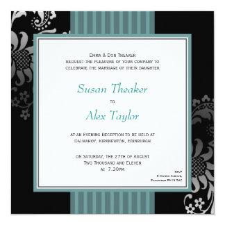 Green & Black Ornate Pattern Wedding Invitation