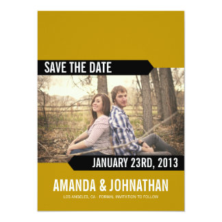 Green & Black Photo Save The Date Announcements