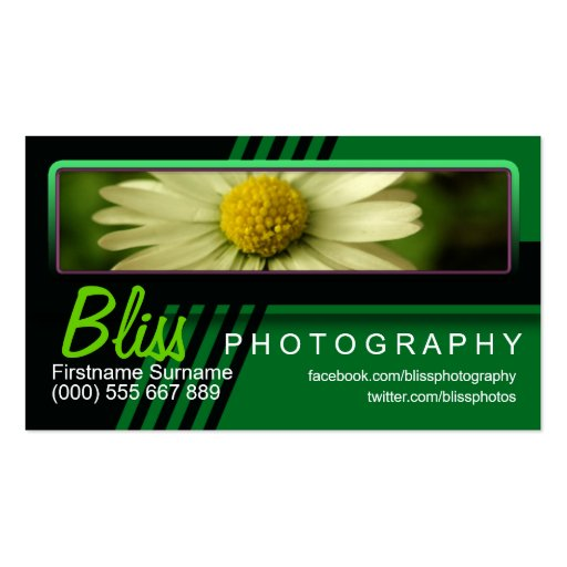 Green Black Photography w/ Photo template Business Card Template