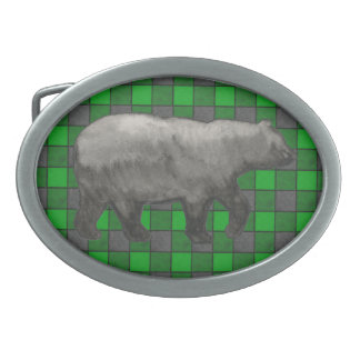 Green Black Plaid Check Belt Buckle with Bear