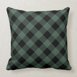 Green Black Plaid Throw Pillow