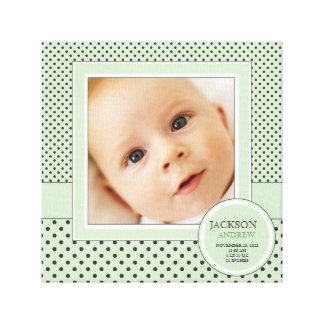 Green+ Black Polka Dot Happy Baby Photo Birth Canvas Print