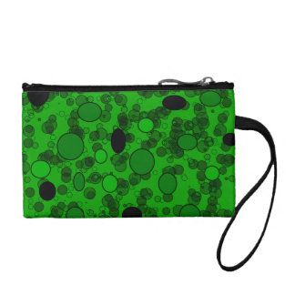 Green black polka dots change purse