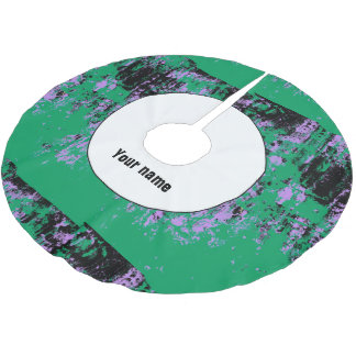 Green black purple texture brushed polyester tree skirt
