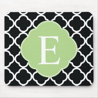 Green Black Quatrefoil Monogram Mouse Pad