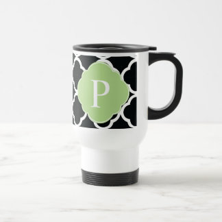 Green Black Quatrefoil Monogram Coffee Mugs