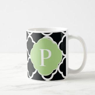 Green Black Quatrefoil Monogram Classic White Coffee Mug