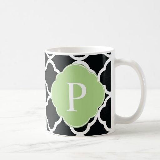 Green Black Quatrefoil Monogram Mug