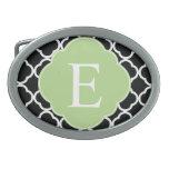 Green Black Quatrefoil Monogram Oval Belt Buckles