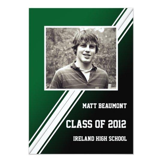 Green Black Racing Stripe Photo Graduation Card