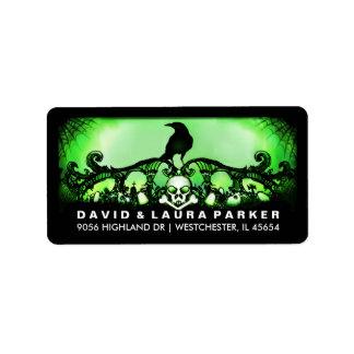 Green & Black Raven Halloween Address Label