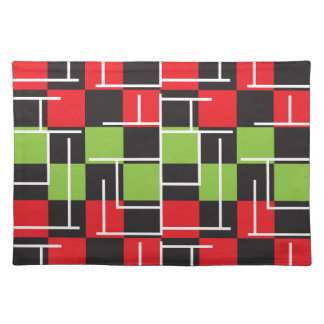 Green, Black, Red and White Abstract Placemat