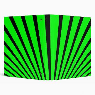 GREEN BLACK RETRO RAYS VINYL BINDER