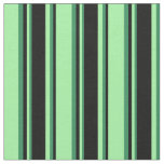 [ Thumbnail: Green, Black & Sea Green Pattern of Stripes Fabric ]