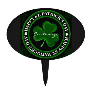 green/black Shamrock St Patrick's Day Irish Pride Cake Topper