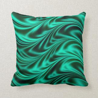 Green black silky waves throw pillow