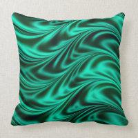 Green black silky waves throw pillows
