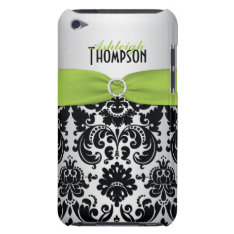 Green, Black, Silver Damask Ipod Touch Case at Zazzle