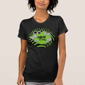 Green Black Silver Zebra Glitter Rock Star T-Shirt