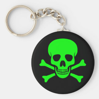 Green & Black Skull & Crossbones Keychain