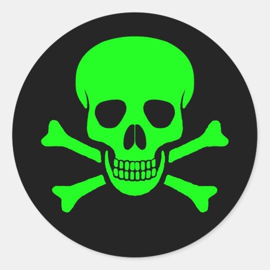Green Amp Black Skull Amp Crossbones Sticker Zazzle