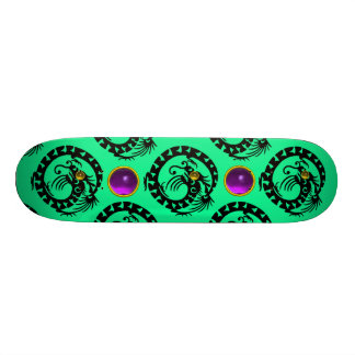 GREEN BLACK SNAKE  DRAGON ,Purple Amethyst  Gems Skateboard Deck