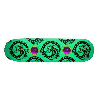 GREEN BLACK SNAKE  DRAGON ,Purple Amethyst  Gems Skateboard Deck