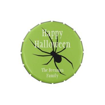 Halloween Themed Green black spider halloween custom favor candy tin