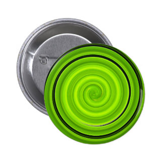 Green-black spiral pattern pinback buttons