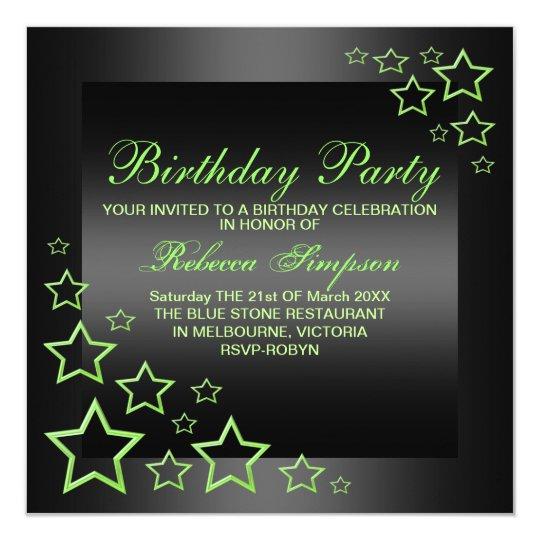 Green & Black Star Birthday Invitation