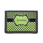 Green Black Striped Polka Dot Tri-Fold Wallet