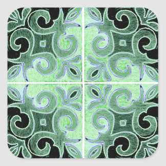 Green Black Swirl Inspired by Portuguese Azulejos Square Sticker