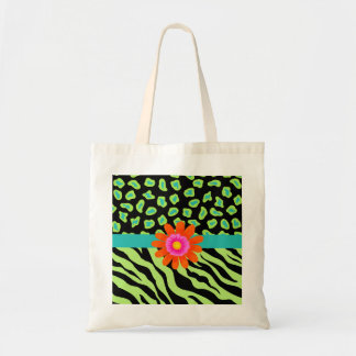 Green, Black & Teal Zebra & Cheetah Orange Flower Budget Tote Bag
