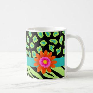 Green, Black & Teal Zebra & Cheetah Orange Flower Coffee Mug
