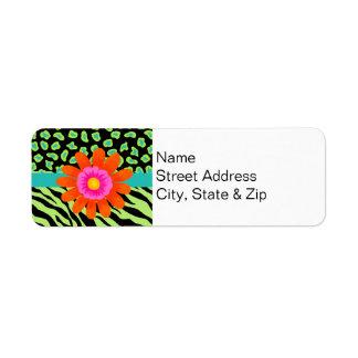 Green, Black & Teal Zebra & Cheetah Orange Flower Label
