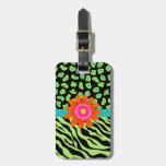 Green, Black & Teal Zebra & Cheetah Orange Flower Tag For Bags