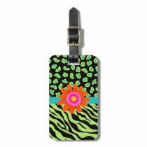 Green, Black & Teal Zebra & Cheetah Orange Flower Luggage Tag