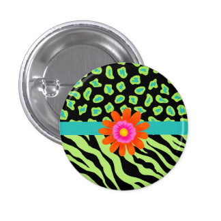 Green, Black & Teal Zebra & Cheetah Orange Flower Pinback Button
